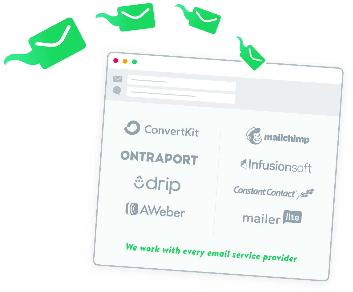 Drip Scripts works with every email service provider.